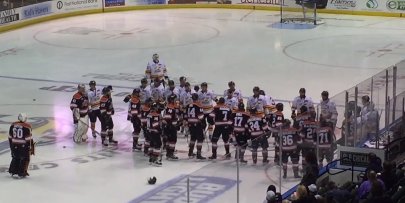 ECHL: Komets and Eagles Warm-up Dance