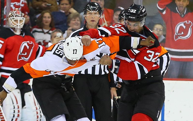 Flyers-Devils Game Features Four Fights